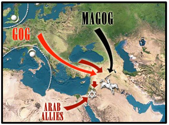 A map reflecting the common view of American prophecy, identifying Russia as Magog, and Western Europe as Gog
